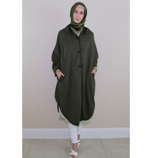Puane Pancho Puane Hooded Poncho 9022 Green - Modefa