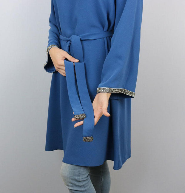 Puane Tunic Puane Modest Embellished Tunic 10086 Blue