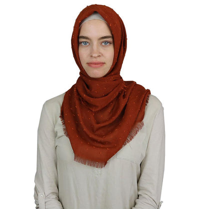 Sedef scarf Burnt Orange Pom Pom Crepe Square Hijab Scarf Burnt Orange
