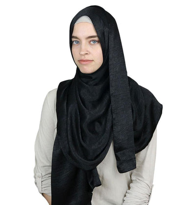 Sedef Shawl Black Bamboo Satin Hijab Shawl Black
