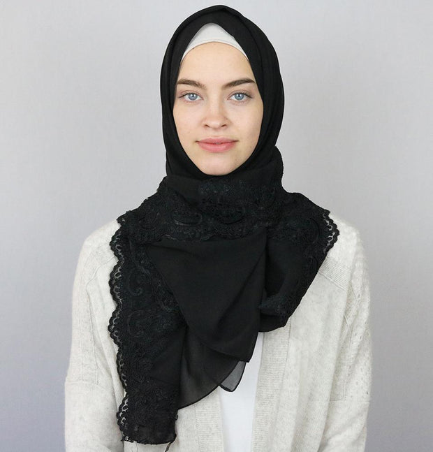 Sedef Shawl Black Lux Lace Trim Chiffon Hijab Shawl Black