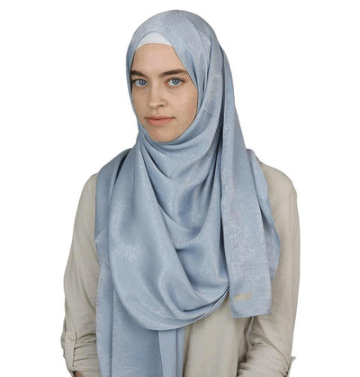 Sedef Shawl Blue Gray Bamboo Satin Hijab Shawl Blue Gray
