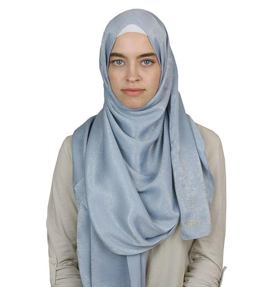 Bamboo Satin Hijab Shawl Blue Gray