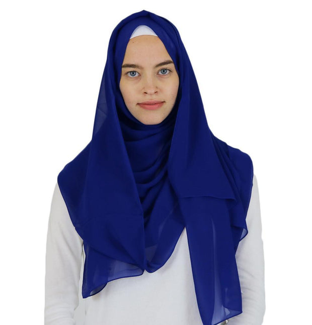 Sedef Shawl Blue Sedef Solid Chiffon Shawl Royal Blue