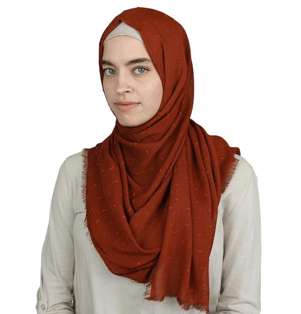 Sedef Shawl Burnt Orange Pom Pom Crepe Hijab Shawl Burnt Orange