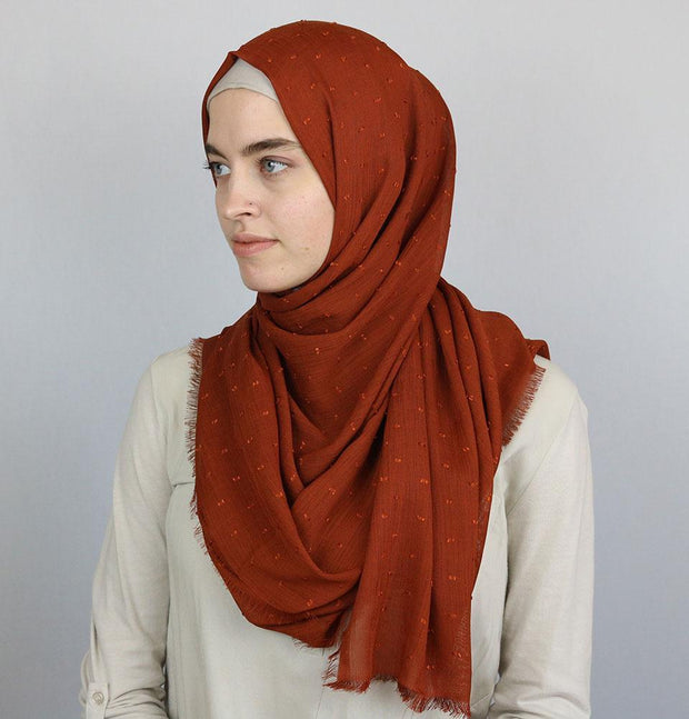 Pom Pom Crepe Hijab Shawl Burnt Orange