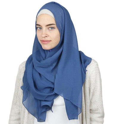 Modefa Shawl Denim Blue Textured Micro Chiffon Hijab Shawl Denim Blue