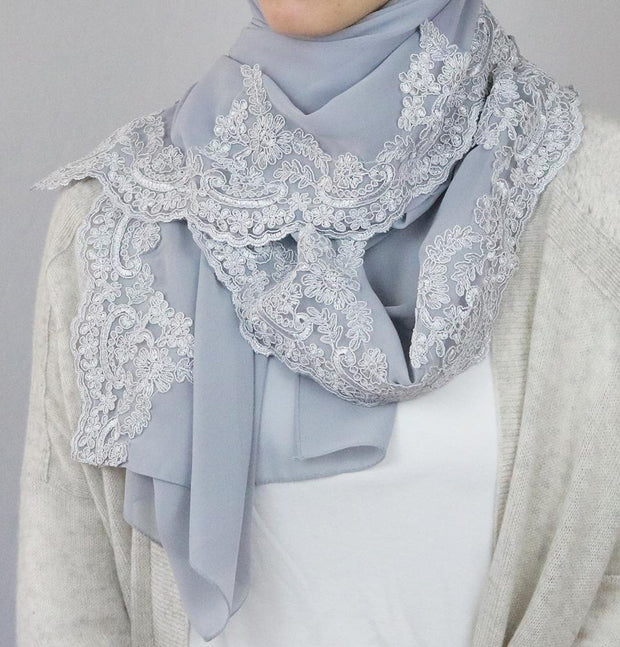 Sedef Shawl Light Grey Lux Lace Trim Chiffon Hijab Shawl Light Grey