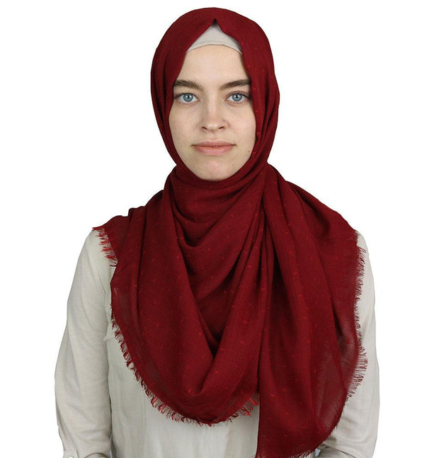 Sedef Shawl Red Pom Pom Crepe Hijab Shawl Red