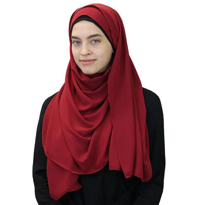 Modefa Shawl Red Medine Solid Chiffon Hijab Shawl Red