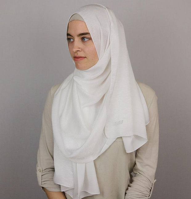 Bamboo Satin Hijab Shawl White