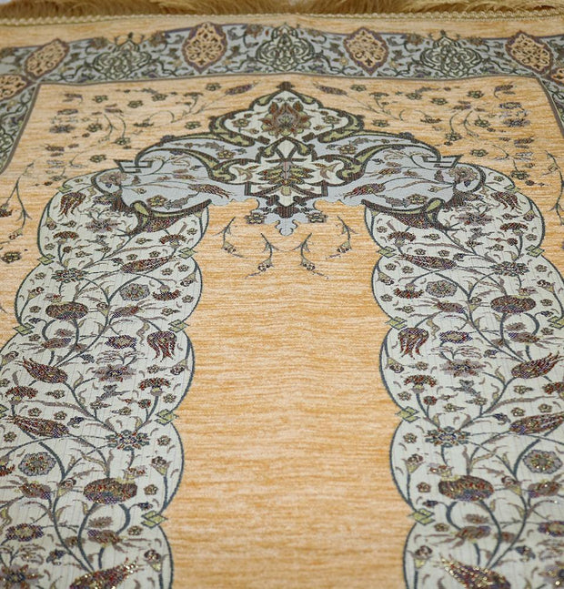 Taqwa Prayer Rug Chenille Embroidered Islamic Prayer Mat - Tulip Arch Beige - Modefa
