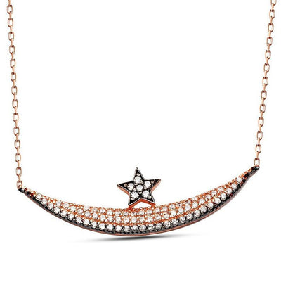 Tesbihane Necklace Women's Sterling Silver Islamic Necklace Crescent Moon and Star - Modefa