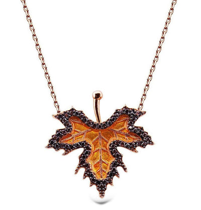 Tesbihane Necklace Women's Sterling Silver Necklace Gold Leaf - Modefa