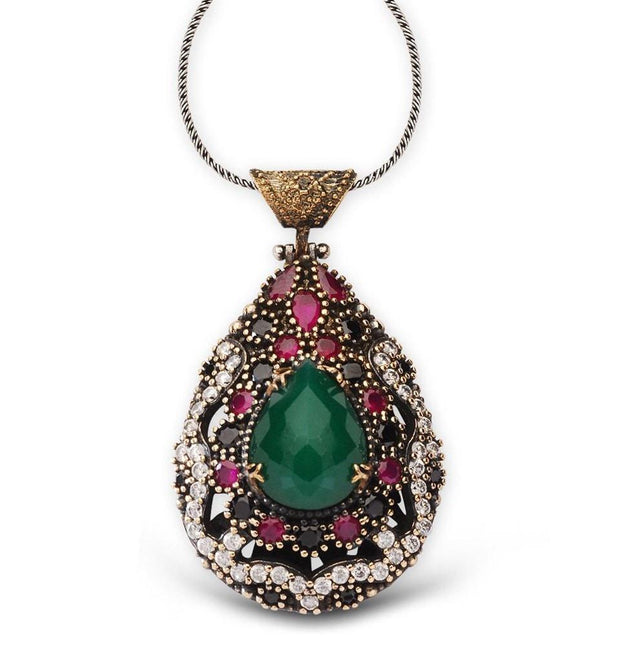 Tesbihane Necklace Green / White / Red Women's Ottoman Pendant Necklace Teardrop Green Zircon