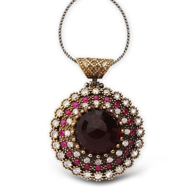 Tesbihane Necklace Women's Ottoman Pendant Necklace Circular Red Zircon - Modefa