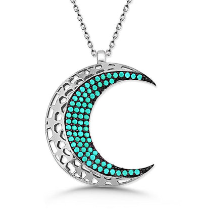Tesbihane Necklace Women's Sterling Silver Islamic Necklace Crescent Moon with Turquoise - Modefa