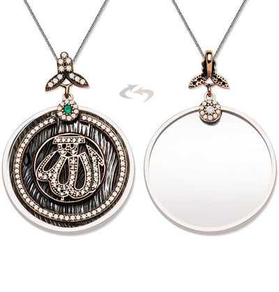 Tesbihane Necklace Silver Women's Sterling Silver Islamic Necklace 'Allah' Double Sided