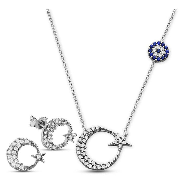 Tesbihane Necklace Silver Women's Sterling Silver Islamic Necklace Zircon Crescent Moon & Star Necklace, Earring Set