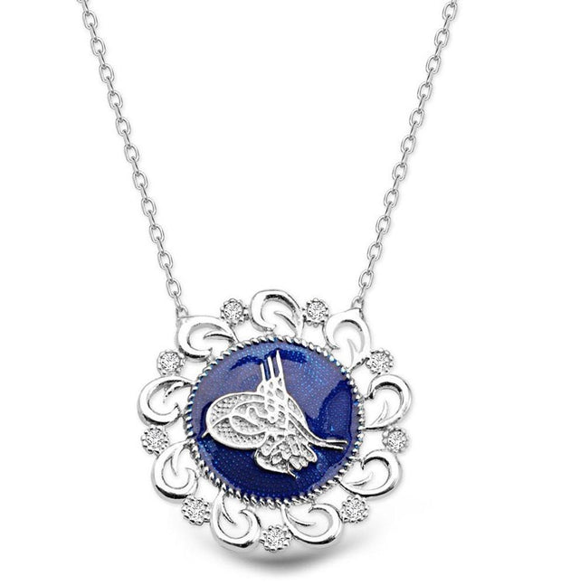 Tesbihane Necklace Women's Sterling Silver Necklace Ottoman Tughra in Blue Enamel - Modefa