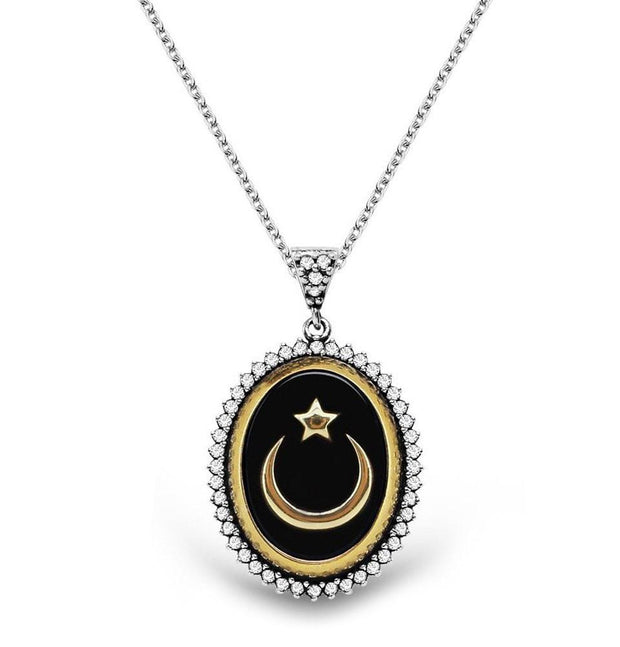 Tesbihane Necklace Women's Islamic Necklace Oval Black Enamel Crescent Moon and Star
