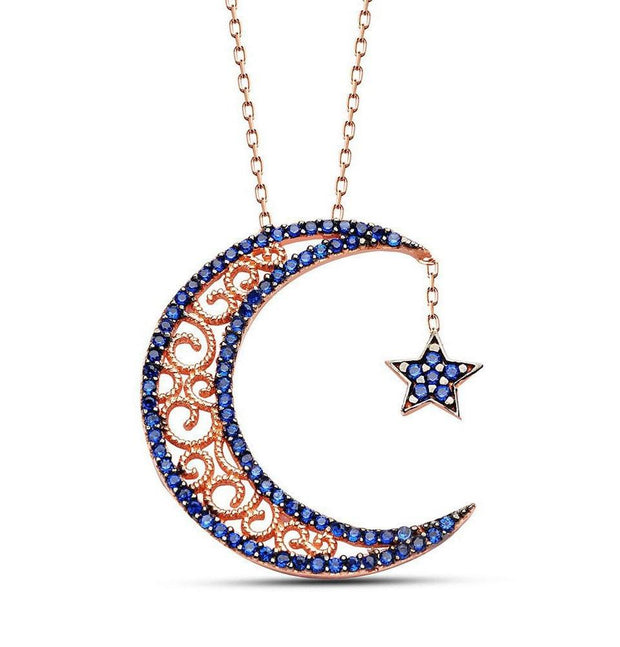 Tesbihane Necklace Women's Sterling Silver Islamic Necklace Crescent Moon and Star 2