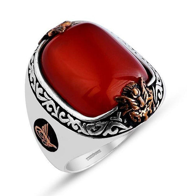 Tesbihane ring Men's Sterling Silver Ottoman Oval Red Agate with Tughra Ring