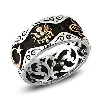 Tesbihane ring Men's Silver Ring Band Tughra, Crescent & Ottoman Coat of Arms - Modefa
