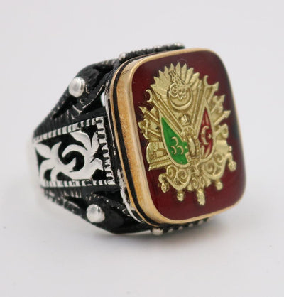Men's Silver Ottoman Coat of Arms Turkish Ring 5203