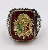 Tesbihane ring Men's Silver Ottoman Coat of Arms Turkish Ring 5203
