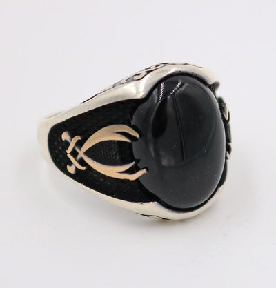 Men's Silver Ring Black Onyx Hazrat Ali's Sword 5219