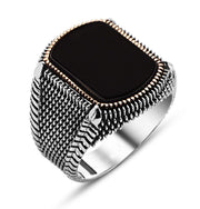 Tesbihane ring Men's Sterling Silver Ottoman Square Black Onyx Fine Detailing Ring - Modefa