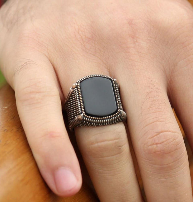 Tesbihane ring Men's Sterling Silver Ottoman Square Black Onyx Fine Detailing Ring