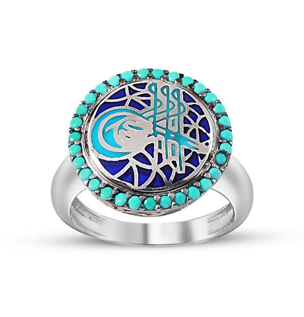Tesbihane ring Women's Silver Turkish Ottoman Turquoise Ring with Tughra and Zircon
