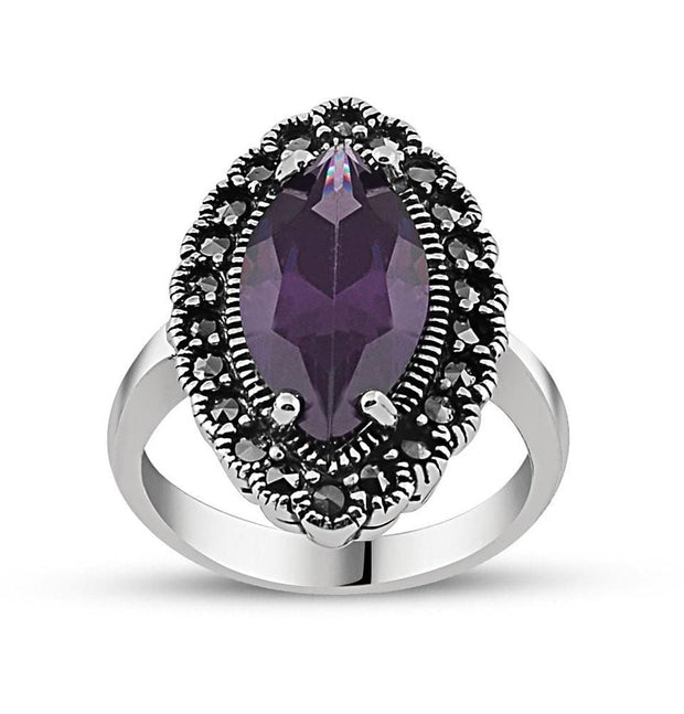 Tesbihane ring 6.5 / Silver / Black Women's Silver Turkish Ottoman Ring with Purple Zircon