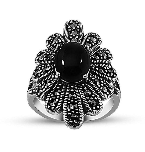 Tesbihane ring Women's Silver Turkish Ottoman Onyx Ring with Zircon