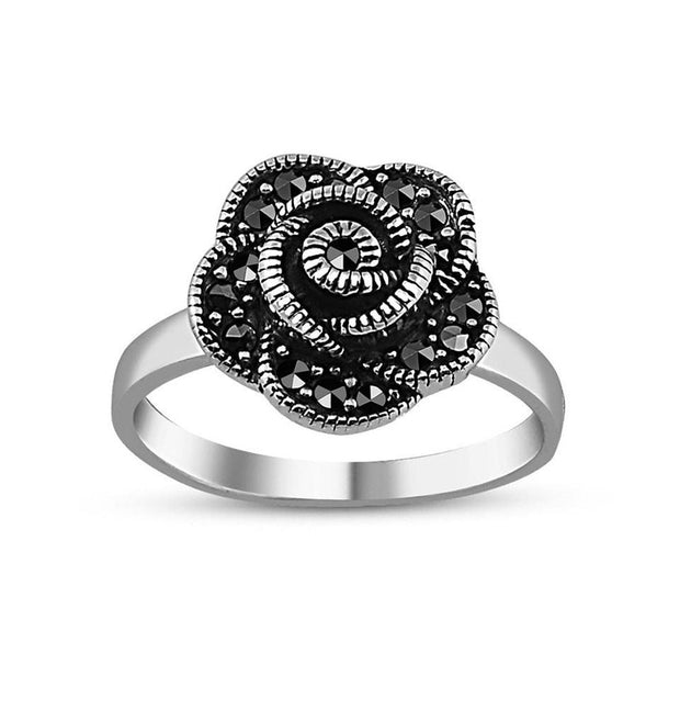 Tesbihane ring Women's Silver Turkish Ring Rose Flower with Zircon