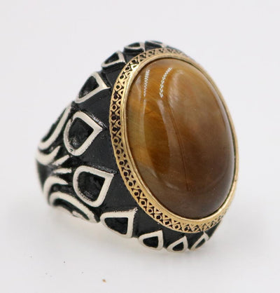 Tesbihane ring Men's Silver Ottoman Turkish Ring Tiger's Eye with Tulip 5207