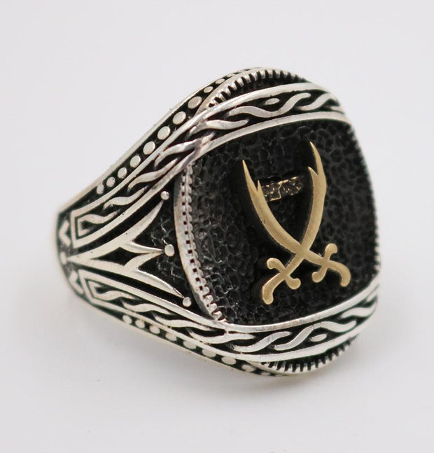 Tesbihane ring Men's Silver Turkish Islamic Ring Hazrat Ali's Sword 5208