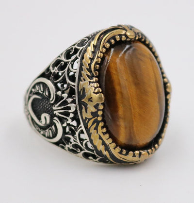 Tesbihane ring Men's Silver Ottoman Ring Fine Detailing Tiger's Eye with Waw