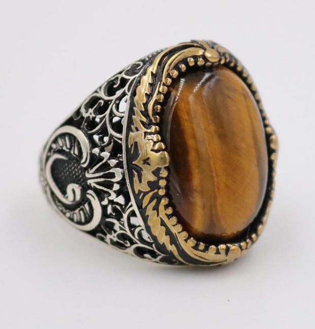 Men's Silver Ottoman Ring Fine Detailing Tiger's Eye with Waw