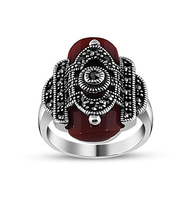 Tesbihane ring Women's Silver Turkish Ring with Red Agate and Zircon