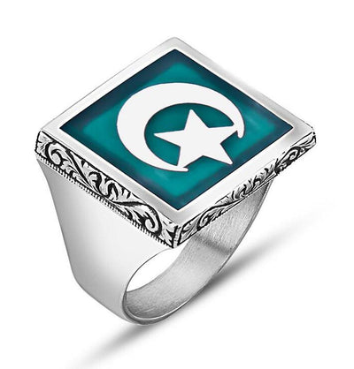 Men's Silver Turkish Ring Turquoise Crescent Moon & Star 9930