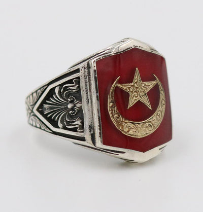 Men's Silver Turkish Ring Red Crescent Moon & Star 5258