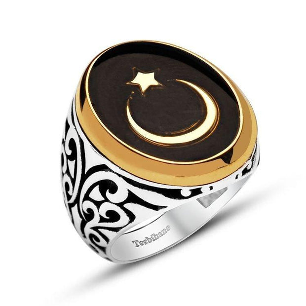 Tesbihane ring Men's Silver Islamic Ring Crescent Moon & Star