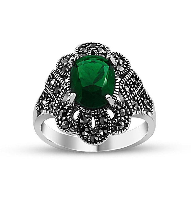 Tesbihane ring Women's Silver Turkish Ottoman Ring with Green Zircon - Modefa