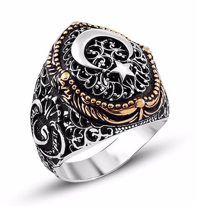 Men's Silver Ottoman Fine Detailing Ring Crescent Moon & Star with Waw 9928
