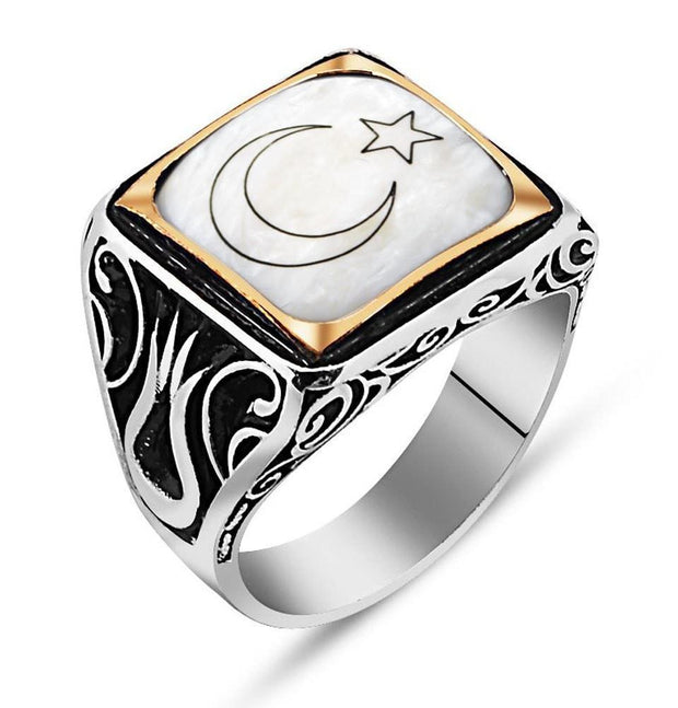 Tesbihane ring Men's Sterling Silver Islamic Square White with Crescent Moon and Star Ring