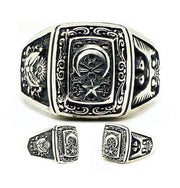 Tesbihane ring Men's Sterling Silver Ring with Crescent Moon & Star, Ottoman Coat of Arms, and Seljuk Eagle