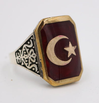 Men's Silver Turkish Islamic Ring Red Crescent Moon & Star 5204